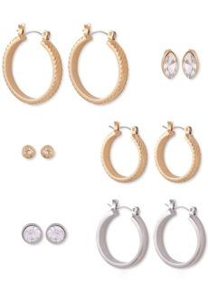 Guess Two-Tone 6-Pc. Set Crystal Stud & Hoop Earrings