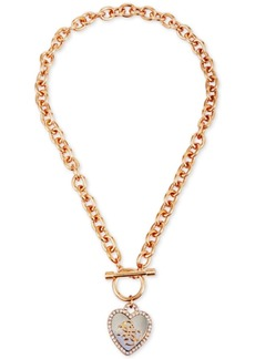 Guess Two-Tone Crystal Heart Pendant Toggle Necklace