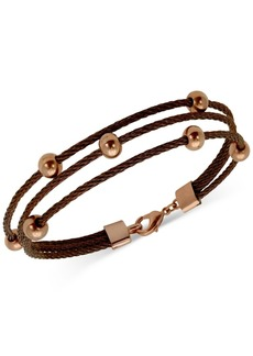 Guess Two-Tone Stationed-Ball Triple-Row Cable Bracelet