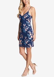 Guess V-Neck Embroidered Sheath Dress