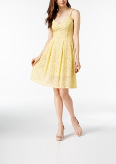 Guess V-Neck Lace Fit & Flare Dress