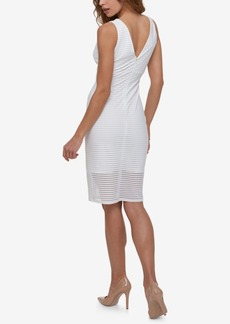Guess V-Neck Shadow Striped Sheath Dress