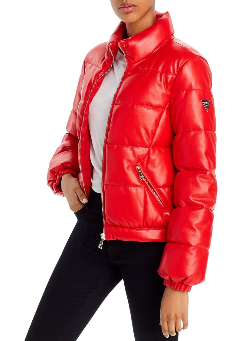 GUESS Valetta Faux Leather Puffer Jacket