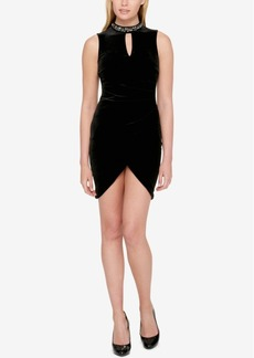 Guess Velvet Embellished Choker Sheath Dress