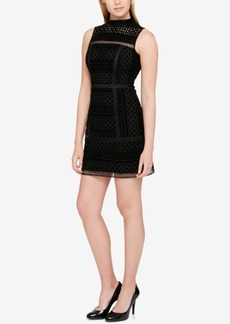 Guess Velvet Embroidered Sheath Dress
