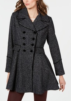 Guess Velvet-Trim Double-Breasted Skirted Plaid Coat