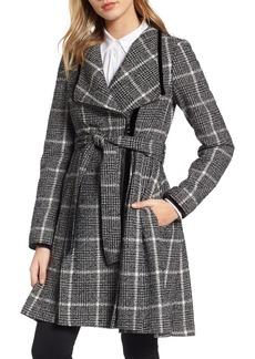 GUESS Velvet Trim Plaid Tweed Coat