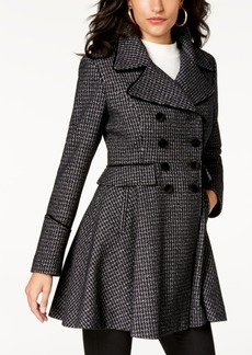 Guess Velvet-Trim Skirted Peacoat