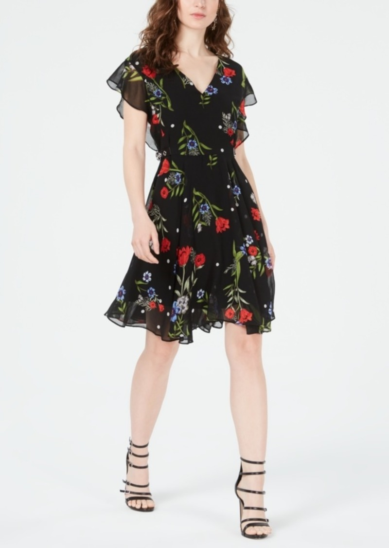Guess Vera Floral-Print Belt-Detail Dress