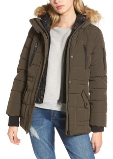 GUESS Vestee Anorak with Faux Fur Trim