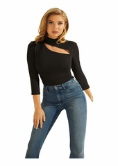 GUESS Women's 3/4 Sleeve Lola Cut Out Knit Top