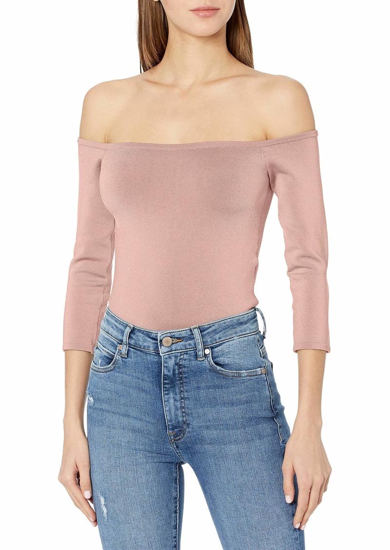 GUESS Women's 3/4 Sleeve Off The Shoulder DITA Top