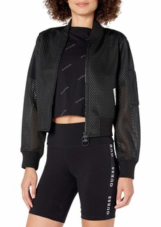 GUESS Women's Active Perforated Zip Jacket  Extra Large