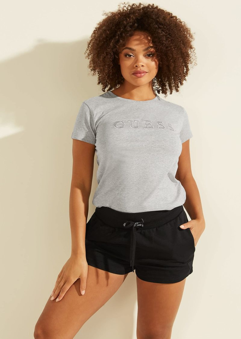 GUESS Women's Active Short Sleeve Embroidered Logo T-Shirt