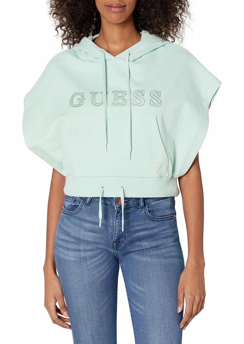 GUESS Women's Active Short Sleeve Hooded Sweatshirt