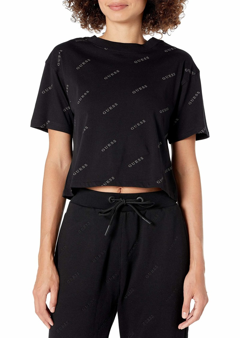GUESS Women's Active Short Sleeve Printed Crop T-Shirt