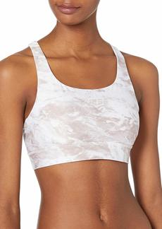 GUESS Women's Active  Support Marble Print Sports Bra