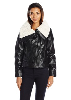 "GUESS Women's ""Almost Leather"" Jacket with Faux Fur Collar (Pu) black M"