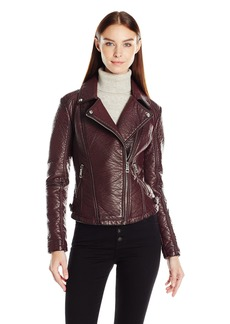 "GUESS Women's ""Almost Leather"" Moto Jacket (Pu)  L"