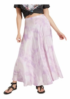 GUESS Women's Arielle Tie Slip Skirt DYE Shades Purple Combo Extra Small