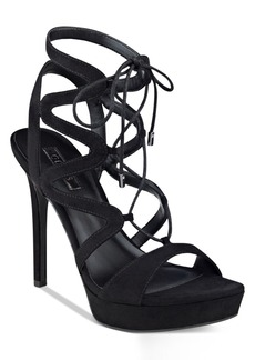 Guess Women's Aurela Strappy Lace-Up Platform Dress Sandals Women's Shoes