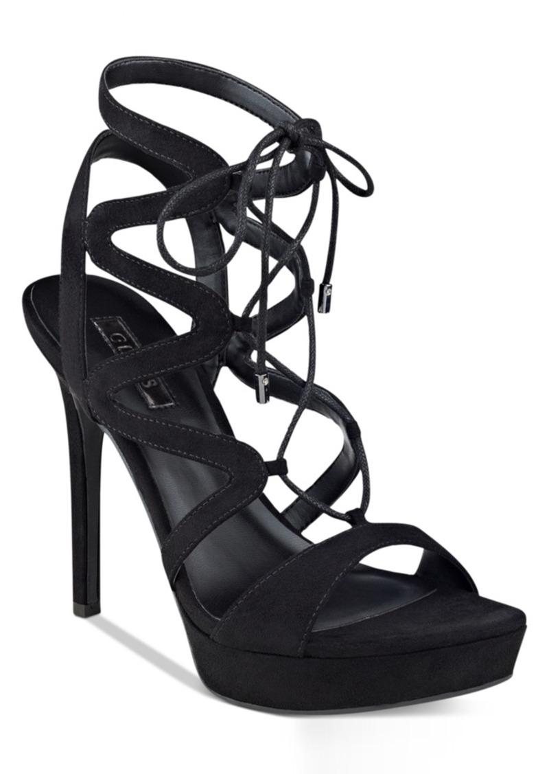 05bf92e07c1 Guess Women s Aurela Strappy Lace-Up Platform Dress Sandals Women s Shoes