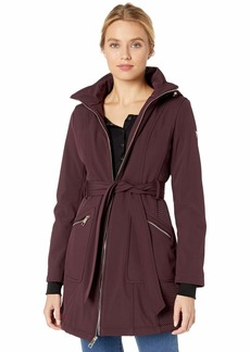 GUESS Women's Belted Softshell Coat with Hood