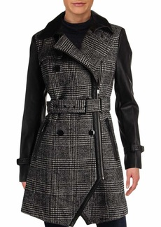 GUESS Women's Belted Wool and Faux Leather Coat