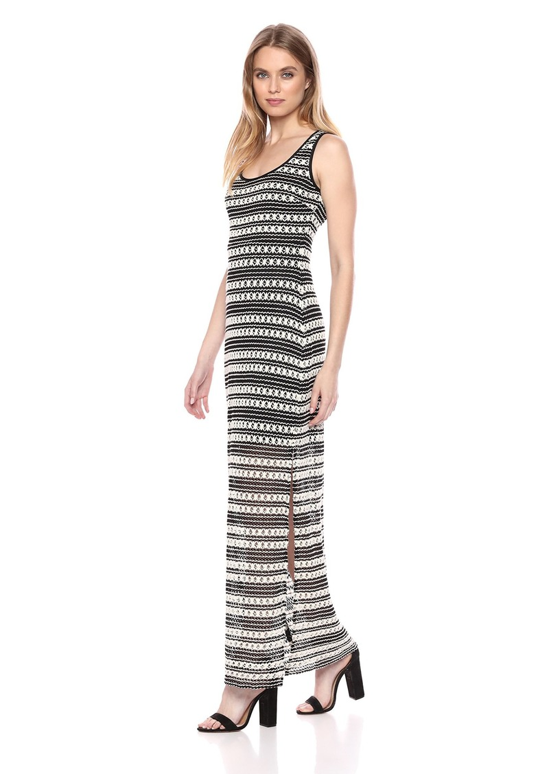 GUESS Women's Black and Beige Crochet LACE Maxi Dress