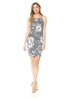GUESS Women's Black and White Printed Scuba Dress