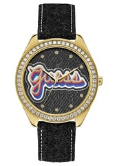 Guess Women's Black Denim Leather Strap Watch 44mm