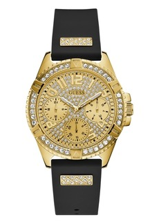 Guess Women's Black Silicone Glitz Watch 40MM, Created for Macy's