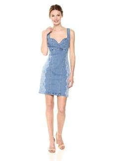 GUESS Women's Bleached Lace Print Bodycon Dress  XL