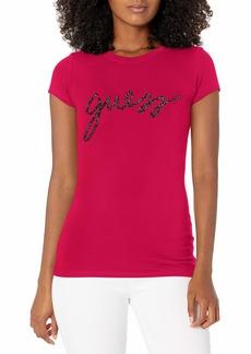 GUESS Women's Shortt Sleeve Bling Script Logo Tee Cherry BITE