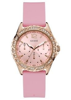 Guess Women's Breast Cancer Awareness Pink Silicone Strap Watch 40mm