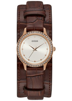 Guess Women's Brown Leather Cuff Strap Watch 30mm
