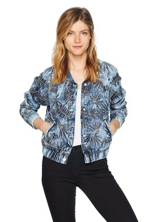 Guess Women's Burnished Bomber Jacket Outerwear -pacific blue M