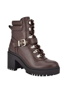 Guess Women's Canaly Lug Sole Block Heel Combat Boots Women's Shoes