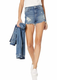 GUESS Women's Claudia High Rise Shorts Doheny Blue wash