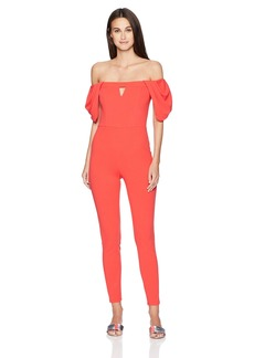 GUESS Women's Cold Shoulder Jenner Jumpsuit red Lava S