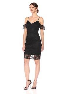 GUESS Women's Cold Shoulder Lace Midi Dress