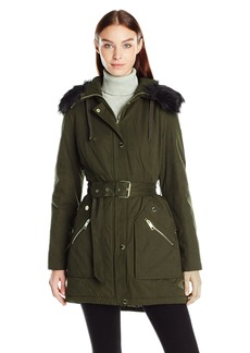 GUESS Women's Cotton Anorak Belted Parka with Faux Fur Trim Hood  M
