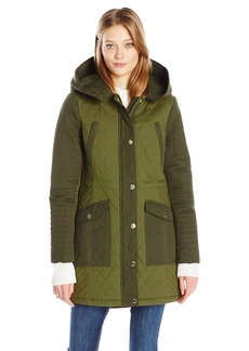 GUESS Women's Cotton Snap Front Anorak with Color Block Detail  L