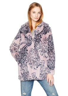GUESS Women's Dana Printed Fuzzy Jacket