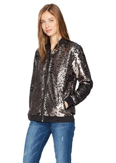 GUESS Women's Deliah Sequin Bomber Jacket