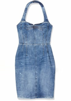 GUESS Women's Eco Denim Halter Top Christie Dress  Extra Small