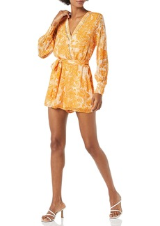 GUESS Women's Eco Long Sleeve Painted Lady Romper