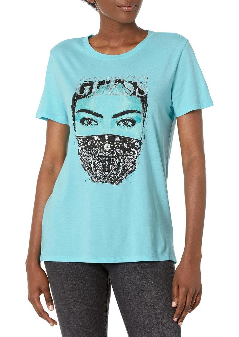 GUESS Women's Eco Short Sleeve Bandana Mask Easy Tee  Extra Small