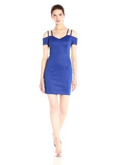 GUESS Women's Embossed Scuba Cold Shoulder Dress
