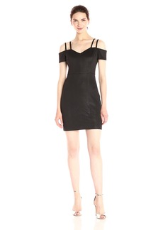 GUESS Women's Embossed Scuba Cold Shoulder Dress